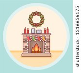 christmas fireplace with... | Shutterstock .eps vector #1216656175