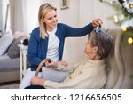 a health visitor combing hair... | Shutterstock . vector #1216656505