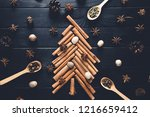 christmas tree made of cinnamon ... | Shutterstock . vector #1216659412