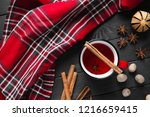 christmas mulled wine with... | Shutterstock . vector #1216659415
