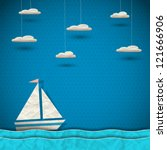 sailing boat and clouds. vector ... | Shutterstock .eps vector #121666906