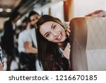young smiling woman traveling... | Shutterstock . vector #1216670185