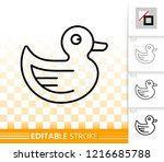 rubber duck thin line icon....   Shutterstock .eps vector #1216685788