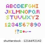 crystal pixel font  retro video ... | Shutterstock .eps vector #1216692142