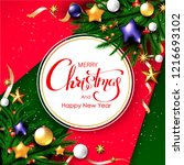 christmas background with... | Shutterstock .eps vector #1216693102