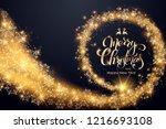 christmas golden background.... | Shutterstock .eps vector #1216693108