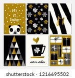 a set of six christmas designs... | Shutterstock .eps vector #1216695502