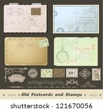 set of 4 vintage postcard... | Shutterstock .eps vector #121670056