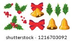 merry christmas set  with bow ... | Shutterstock .eps vector #1216703092