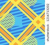 seamless pop art pattern.... | Shutterstock .eps vector #1216713202