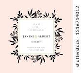 wedding invitation design...   Shutterstock .eps vector #1216714012