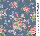 seamless floral pattern of...   Shutterstock . vector #1216716982