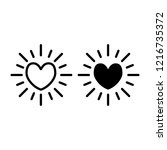 heart sun line and glyph icon.... | Shutterstock .eps vector #1216735372