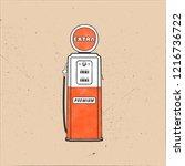 retro style gas station pump...   Shutterstock . vector #1216736722