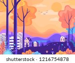 beautiful autumn color city... | Shutterstock .eps vector #1216754878