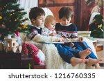 three children  boy brothers ... | Shutterstock . vector #1216760335