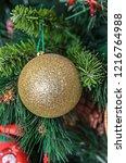 christmas tree hanging ornament ... | Shutterstock . vector #1216764988