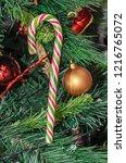christmas tree hanging ornament ... | Shutterstock . vector #1216765072