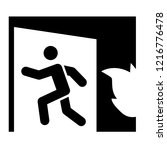 emergency exit solid icon. fire ... | Shutterstock .eps vector #1216776478