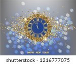 happy new year greeting card... | Shutterstock .eps vector #1216777075