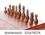 Classic Wooden Chessboard with Chess Pieces against a background - stock photo