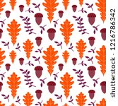 seamless pattern with acorns... | Shutterstock .eps vector #1216786342