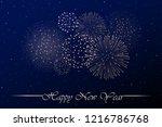 firework show on blue night sky ... | Shutterstock .eps vector #1216786768
