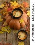 pumpkin cream soup on the... | Shutterstock . vector #1216792192