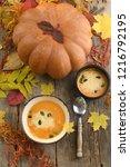 pumpkin cream soup on the... | Shutterstock . vector #1216792195