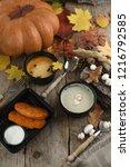 pumpkin cream soup top view on... | Shutterstock . vector #1216792585