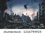 helicopter and forces in... | Shutterstock . vector #1216794925