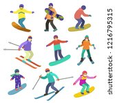 young people ride downhill in... | Shutterstock .eps vector #1216795315