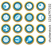 sport balls icons set play... | Shutterstock . vector #1216797232