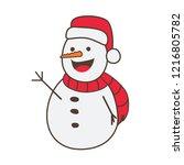 snowman cartoon waving | Shutterstock .eps vector #1216805782