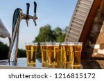 a row of plastic beer glasses... | Shutterstock . vector #1216815172