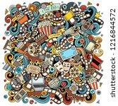 cartoon vector doodles cinema... | Shutterstock .eps vector #1216844572