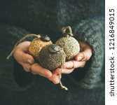 woman in grey warm woolen... | Shutterstock . vector #1216849015