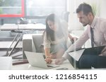 two young business people... | Shutterstock . vector #1216854115
