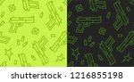 guns low poly seamless pattern. ... | Shutterstock .eps vector #1216855198