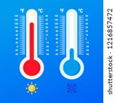 weather thermometer. warm and... | Shutterstock .eps vector #1216857472