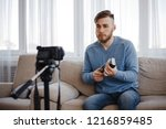 vlogging  technical review ... | Shutterstock . vector #1216859485