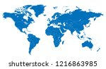 the world and south korea map | Shutterstock .eps vector #1216863985