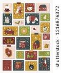 christmas advent calendar.... | Shutterstock .eps vector #1216876372