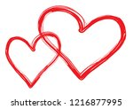 hearts vector. hand drawn icons.... | Shutterstock .eps vector #1216877995