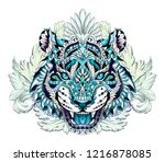 patterned head of the roaring... | Shutterstock .eps vector #1216878085