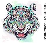patterned head of the roaring... | Shutterstock .eps vector #1216878088
