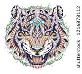 patterned head of the roaring... | Shutterstock .eps vector #1216878112