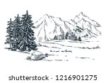 mountains  spruce and pine... | Shutterstock .eps vector #1216901275