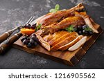 carved roasted turkey for... | Shutterstock . vector #1216905562