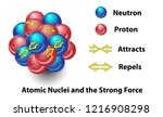 strong force in the nucleus of... | Shutterstock .eps vector #1216908298
